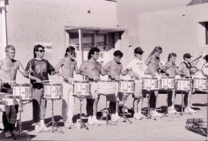 Jason, third from the left, in the North Texas drumline.  Keith Carlock is third from the right.